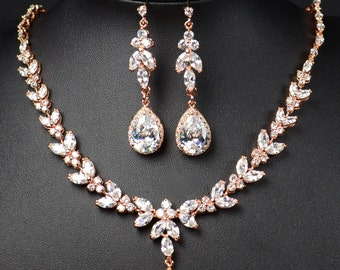 Bridal Jewelry SET bridesmaid gifts Jewelry SET clear Crystal Wedding Jewelry  Rose gold Bracelet Gold Bridal Earrings necklace