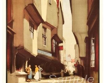 Vintage York Shambles LNER Travel Poster Print