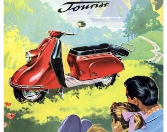 Vintage Heinkel Tourist Scooter Poster Print