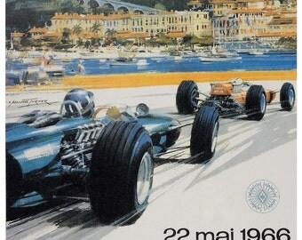 Vintage 1966 Monaco Grand Prix Racing Poster Print