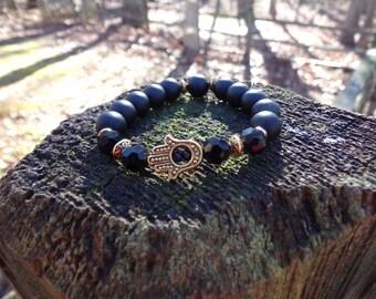 Unisex Gold Hamsa Bracelet with Black Onyx Stones Reiki Healing Chakra Balancing Gemstones Grounding Women's Men's Semi Precious