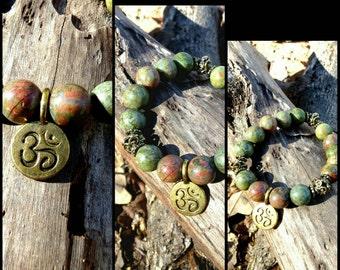 10mm Unakite Heart Opening Bead Bracelet Reiki Healing Chakra Balancing Gemstones Women's Semi Precious Stones Men's Copper Green