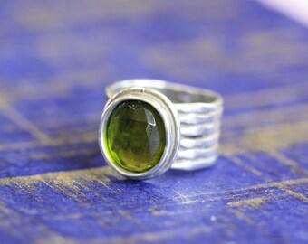 Peridot Ring, Silver Ring, Green Stone Ring, Silver Jewelry, Gemstone Jewelry