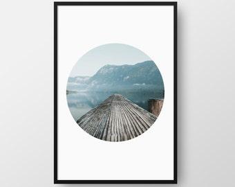 Printable Lake Poster, Lake Print, Nature Poster, Nature Circle Print, Wall Art, Home Decor, Modern Nature Print, Instant Download