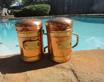 """vintage copper salt & pepper shakers with handles 4"""" tall home decor"""