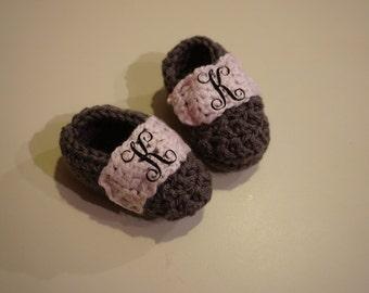 Monogrammed Crochet baby booties