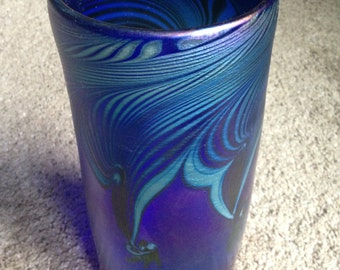 Beautiful pulled feather blue and green art glass vase