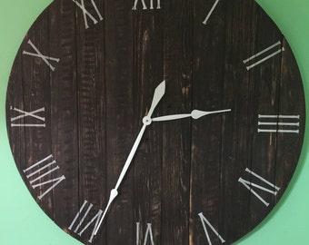 Large Wall Clock, Wood Clock,Reclaimed Wood Clock,Rustic Clock, Farmhouse Clock, Staned Clock, Handmade Clock, Christmas gift ,Roman Numeral