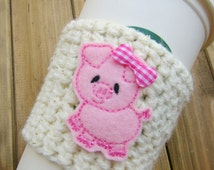 Pink Pig Crochet Coffee Cozy! Cute Starbucks Travel Cup Coffee Sleeve Coozie! Animal Cosy for Travel Cups or Frappuccinos