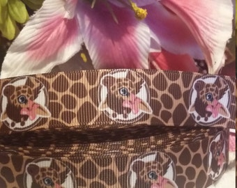 3 yards, 7/8' grosgrain ribbon giraffe design