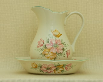 Porcelain pitcher and bowl with flowers pattern. St Michael ANEMONE, made in England.
