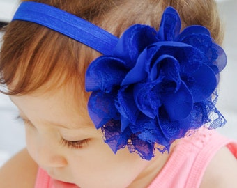Royal Blue Chiffon Poofy Flower Baby Headband