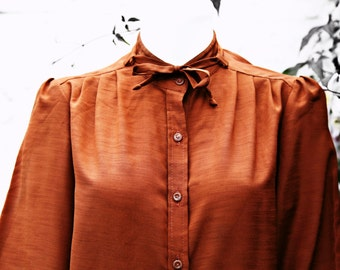 Vintage Blouse - Silky Blouse - Long Sleeved Blouse - Office Blouse - Party - Everyday - 1980's