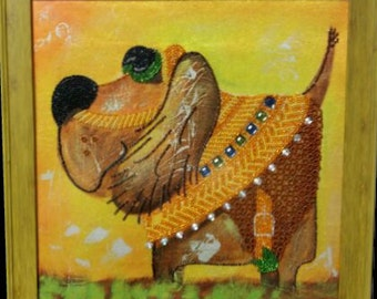 The dog - Original handmade picture embroidered with beads, Framed picture, Beadwork, Embroidered picture, Homedecor, Crosstich, Bordado