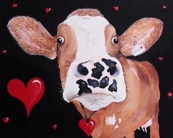 """Funky Cow Print """"I love Moo"""""""