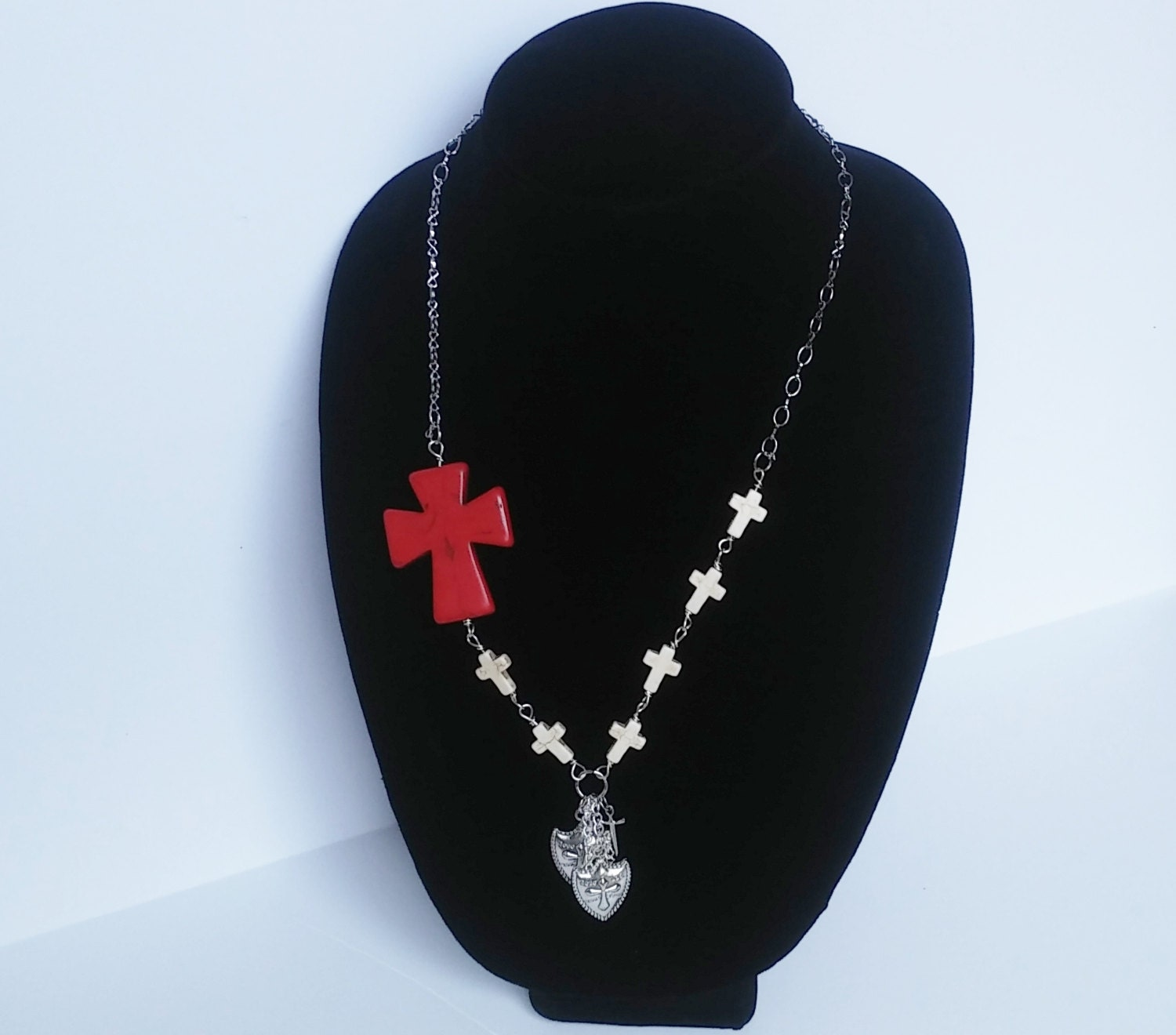 knights templar inspired necklace crucifix necklace white