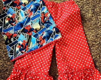spiderman and capri pant set