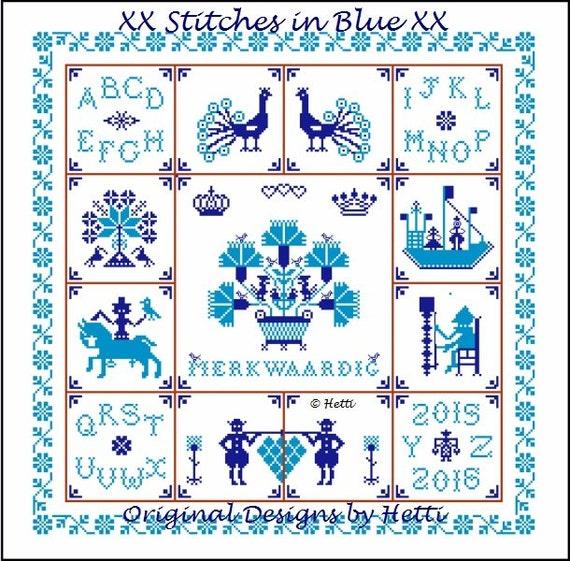 Schoudertassen Delft : Merkwaardig sampler in delft blue tegels door