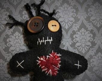 Voo Doo Doll-Black voodoo doll-Voodoo plush-Handmade felt creepy doll-Halloween decor-Primitive decor-Dark dolls-zombie doll