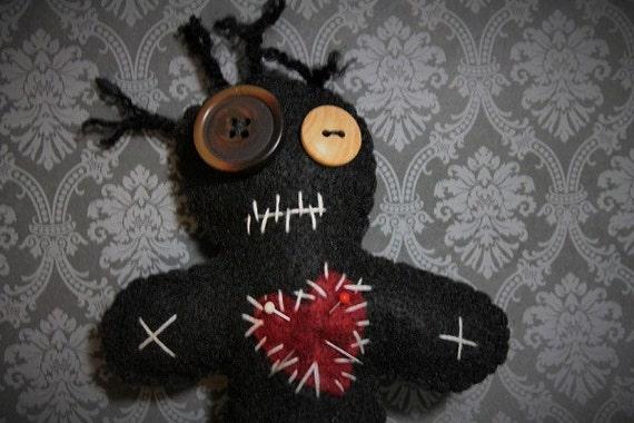 Voo Doo Doll-Black voodoo doll-Voodoo plush-Handmade felt