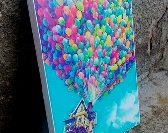 Balloons, Flying Home, Colorful, Art Print, Handcrafted from recycled chipboard, No frame, Kids room decoration, Wall art,