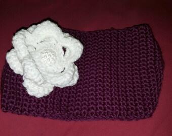 Handmade Crochet Headband Earwarmer Pearl Button and Flower