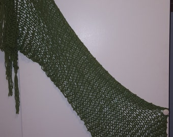 Green Handknit Wool scarf