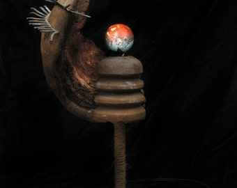 Sculptural found object lamp