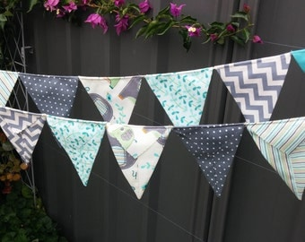 Aqua and grey elephant bunting, baby shower, flags, garland or banner - aqua, greys, creams and charcoal