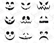 Jack O Lantern Faces Cut File Halloween SVG Fall SVG Pumpkin Faces Carving Clipart Svg Dxf Eps Png Silhouette Cricut Cut File Commercial Use