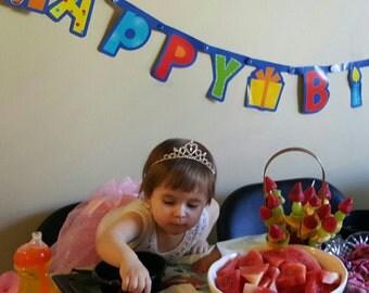 First Birthday  tiara. Rhinestone Princess crown. First Birthday Girl crown. Princess Tiara. First Baby Girl Tiara. Photo Prop. Girl Tiara.