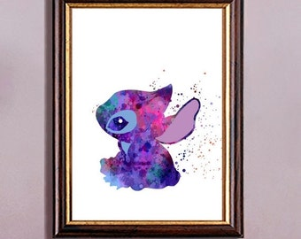 ON SALE 50% Stitch inspired, Stitch from Lilo and Stitch, Disney, Watercolor print, watercolor painting, for children, Kids Room Decor, Post