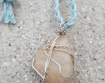 Cream and White Wire Wrapped River Stone/ Rock Braided Blue/ Light Blue/ Baby Blue Hemp Necklace