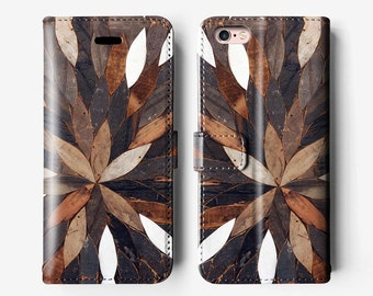Floral wood iPhone wallet 7 case, leather case, iPhone 6 folio case, iPhone 6 plus case, iPhone 6s Plus case, brown chocolate white B088