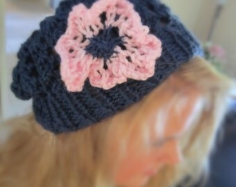 Slouch hat with knit flower.