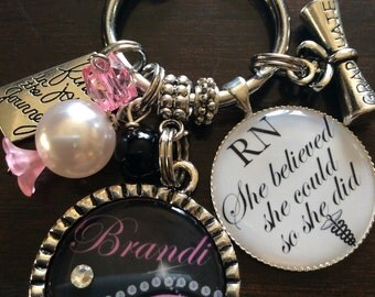 PERSONALIZED RN GIFT, She Believed She Could So She Did Keychain, Gifts for Nurses, Gifts for Rn, Rn Keychain,