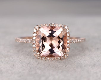 9mm Morganite Engagement ring Rose gold,Diamond wedding band,14k,Cushion Cut,Gemstone Promise Bridal Ring,8 ball Prongs,Pave Set,Handmade