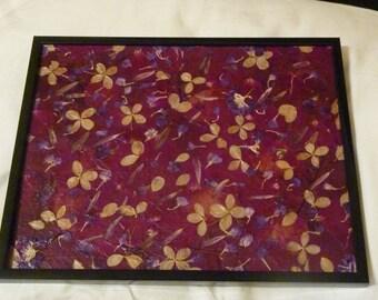 framed pressed flower collage
