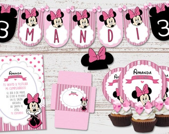 "Luxury printable Kit ""Minnie Mouse"" pink fuchsia polka dots birthday babes. Candy Bar. Super full. Customized, ready to print."