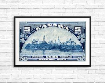 P113 Ottawa Canada, Parliament buildings, Canadian Parliament, Peace Tower, Ottawa Ontario, Vintage Print, blue wall art, engraving, etching