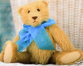 Teddy Bear OLIVER - Handmade Mohair teddy - Golden-yellow bear - Artist teddy bear - Vintage style - Retro bear -OOAK bear - Christmas gift