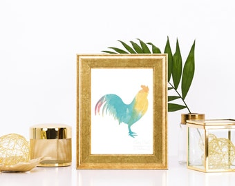Cheery Rooster Watercolor Print