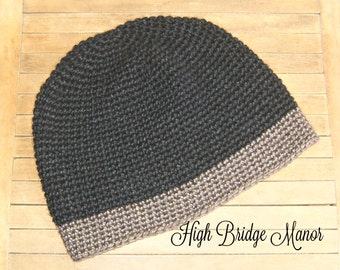 Mens crochet beanie, mens fitted hat, mens lightweight winter hat, black and heather brown mens hat
