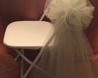 FLUFFY PEW BOWS Great For Wooden Or Metal Chairs Olive Green/Army Green Tulle Sold In Sets Of 6