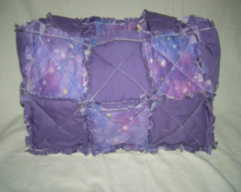 Purple and Stars Rag Quilt Tote