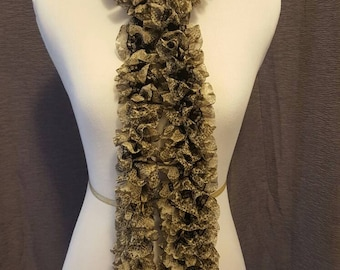 Narrow Width Patterned Fabric Spiral Scarf