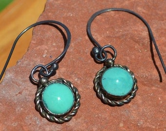 Sterling Silver Earrings with Turquoise Cabochons