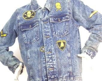 jean jacket badges ASKustom4U old school Size L New Look
