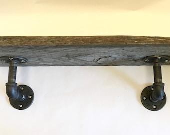 Rustic Barnwood Pipe Shelf