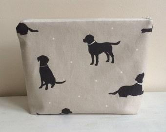 Labrador Print make up or wash bag